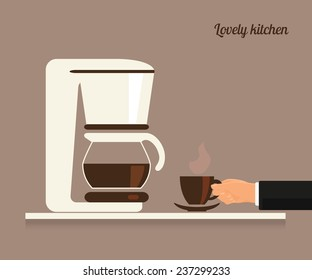Human hand holds a cup of coffee near white coffee machine. Flat illustration