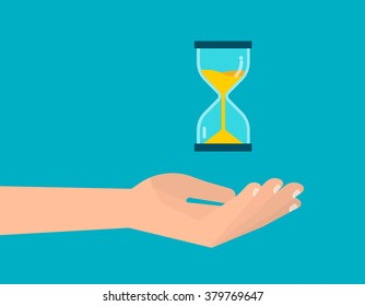 Human hand holds a hourglass. Business and time management concept. Isolated vector illustration flat design.