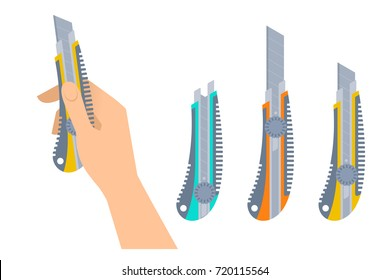 Human hand holds office knife. Flat illustration of male hand with builder and construction tool and Cutters with plastic handles. Vector design element set isolated on white background.