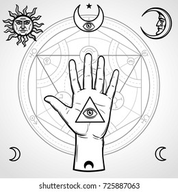 Human hand holds a sacred pyramid of knowledge, an all-seeing eye. Symbols of the moon and sun, alchemical circle of transformations. Vector illustration isolated on a gray background.