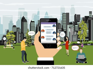 Human hand holds smart phone with messenger app. Flat illustration of people using gadgets walking outdoors in the park. Young people texting messages via messenger using smartphone in the park