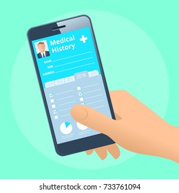 Human hand holds smart phone with patient health medical history. Modern medicine, medical exam and diagnosis flat concept illustration. Vector design element for web, internet, presentation