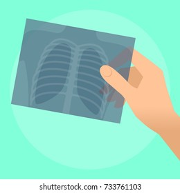 Human hand holds x-ray image of lung. Flat illustration of doctor's hand holding radiograph. Medicine, medical exam and diagnosis concept. Vector design elements for web, internet, presentation