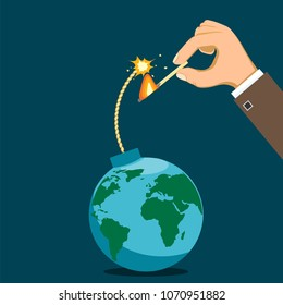 Human hand lights the fuse. Bomb is like a planet earth. Terrorism and the Cold War. Stock vector illustration.
