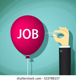 Human hand with a needle bursts a balloon with the word job. Unemployment and hiring. Stock Vector cartoon illustration.