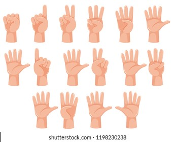 Human hand and number gesture illustration