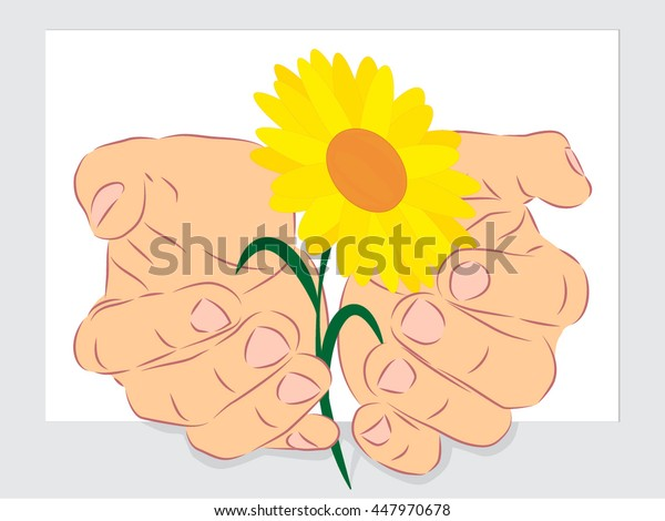 human hand palms with white flower outside of page outline vector illustration