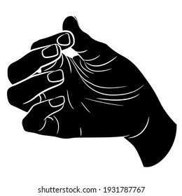 Human hand in pinch gesture. Palm with bent fingers. Black and white silhouette. Cartoon style.