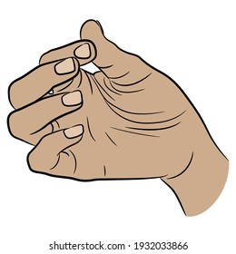 Human hand in pinch gesture. Palm with bent fingers. Cartoon style.