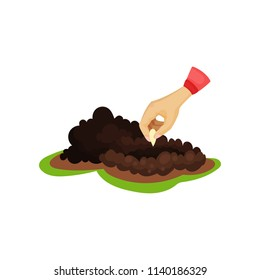 Human hand planting seed into soil. Pile of ground. Growing theme. Flat vector for infographic poster about plant cultivation