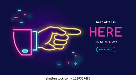 Human hand pointing finger in neon light style with text best offer is here on dark purple background. Bright vector neon illustration light website banner template or landing page design