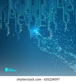Human hand points to electrical circuit with shine sparks. Digit board of tecnology electron background. Abstract blue light bacdrop. Digital Vector Illustration.