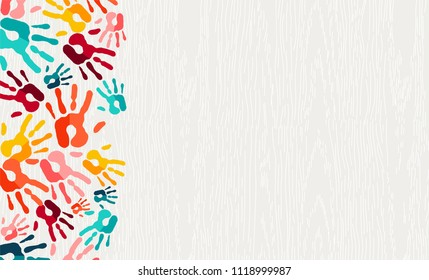 Human hand print color background. Colorful children paint handprints illustration for social community, education or teamwork concept. EPS10 vector.
