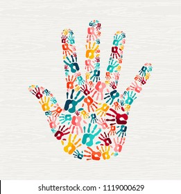 Human hand print shape concept. Colorful paint handprint background for diverse community or social project. EPS10 vector.