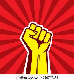 Human hand Up Proletarian Revolution - Vector Illustration Concept in Soviet Union Agitation Style. Fist of revolution. Red background. Design element.
