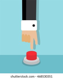 human hand reaching to press the red button