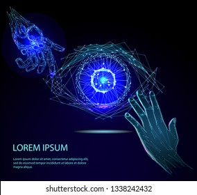 Human hand and the robot arm and human eye. Digital vision - vector logo template concept illustration. Abstract human eye creative sign. Security technology and surveillance. Design element.