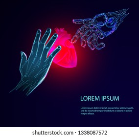 Human hand and the robot arm saves the heart. Human heart anatomy form lines and triangles, point connecting network on blue background. Medicine concept with geometry triangle.
