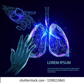 Human hand and the robot arm saves the lungs. Human lungs anatomy form lines and triangles, point connecting network on blue background. Medicine concept with geometry triangle.