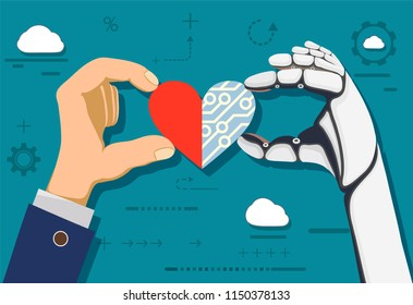 Human hand and a robot holding heart. Stock vector illustration.