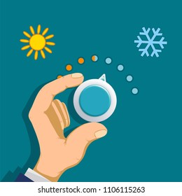 Human hand rotates the thermostat. Climate control regulator. Switch toggle hot and cold temperatures. Stock vector illustration.