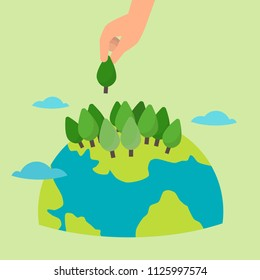 human hand seed three, take care of the planet, save the world, energy, the hour of the Earth, the concept of the Earth day, vector flat illustration