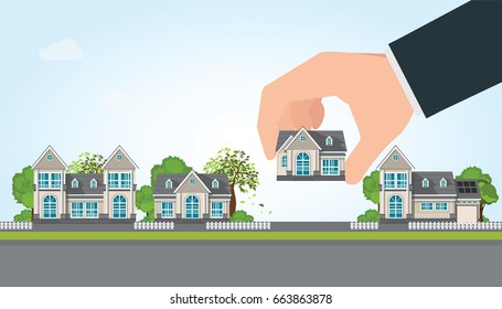 Human hand select to holding a right house. Property For Sale, Real estate, conceptual vector illustration.