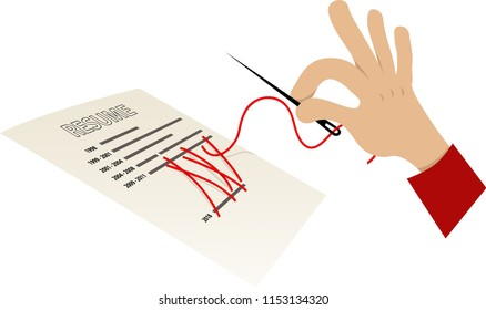 Human hand with a sewing needle attempting to sew shut a gap in a resume, EPS 8 vector illustration