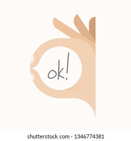 Human hand showing ok (okay) gesture with fingers. Designed vector illustration.