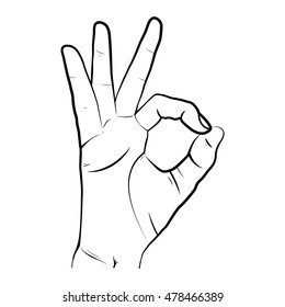 Human hand, showing OK sight, fingers showing symbol of a great state. Vector isolated sketch style, hand drawn illustration. Ok icon