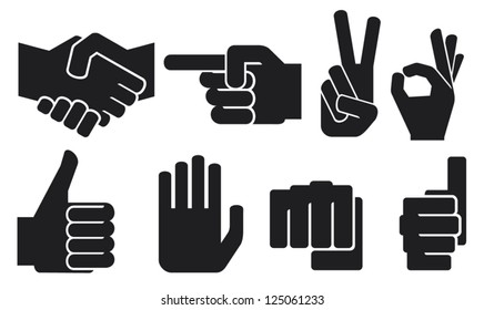 human hand sign collection (finger pointing, thumbs up, like symbol, okay, fist, victory symbol)