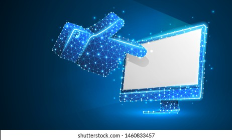 Human hand silhouette pointing on a white computer monitor. Touchscreen, finger click concept. Abstract, digital, wireframe, low poly mesh, vector blue neon 3d illustration. Line dot