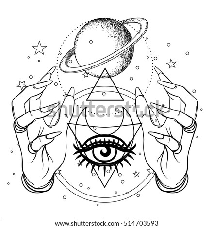 Human Hand Space Sacred Geometry Symbols Stock Vector Royalty Free