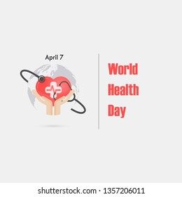 Human hand and stethoscope icon with heart shape vector logo design template.World Health Day icon.World Health Day idea campaign concept.Vector illustration
