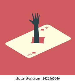 Human hand sticking out of the ace of diamonds card. Gambling addiction conceptual illustration.