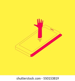 Human hand sticking out the phone. Smartphone addiction concept illustration.