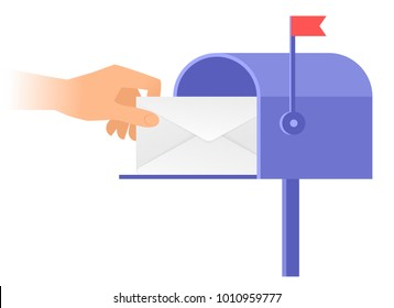 Human hand is taking out an envelope from a postbox. Flat vector illustration of mailbox and a hand holding sealed letter. Receiving a correspondence, postal, mail concept isolated on white background