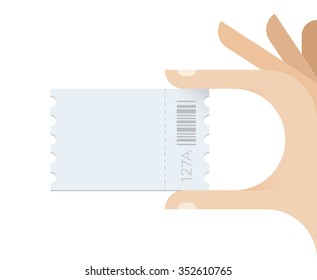 Human hand taking ticket with copy space for your text. Concept - Cinema, Transport, Event, Concert, Exhibition, Presentation, Seminar, Bus or Subway ticket.