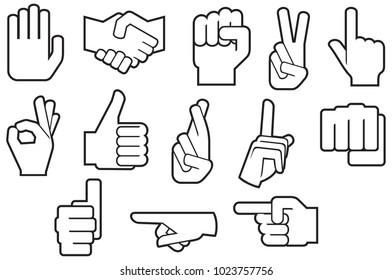 human hand thin line icons