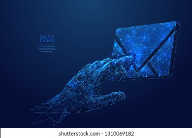 Human hand touch on email symbol. Low poly wireframe vector illustration. Concept of management postal internet service. Futuristic technology digital image with polygon mesh.
