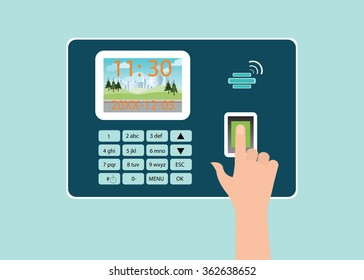 Human Hand touch screen with fingerprint in Time recorder machine, vector illustration.