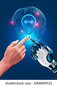Human hand touches robot hand. Illustration about modern Innovation in industry. Global automation, ai in business. Friendship of artificial intelligence and man. New ideas in optimization business.
