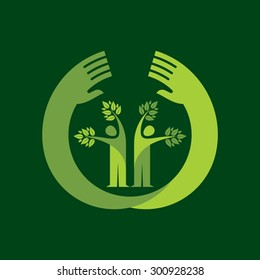 human hand & tree icon with green leaves - eco concept vector.