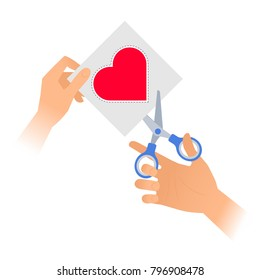 4c182b9e546 Human hand is using a pair of scissors to cut out a heart from paper.