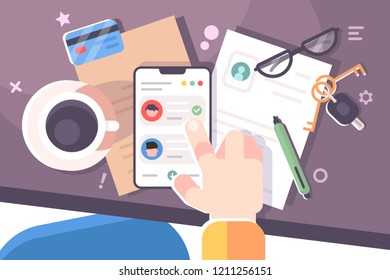 Human hand using smartphone workplace desktop background. Top view of table, folder, smartphone, coffee cup. Work space concept. Flat. Vector illustration.
