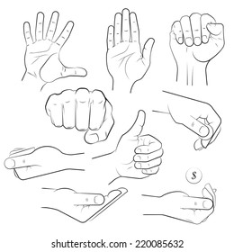 human hand with various gestures