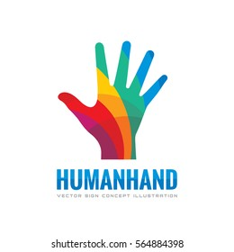 Human hand - vector logo template concept illustration. Abstract creative sign. Design colored element.