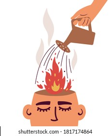 Human hand with watering can putting out fire in burning brain. Psychological therapy help concept. Burnout, stress, emotional problem, mental illness. Angry man or woman. Healing vector illustration