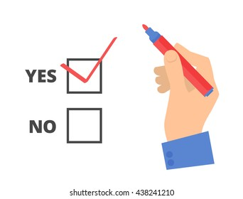 Human hand write yes vote with pen on a voting paper. Flat concept illustration of man's hand, red pen, ballot paper, check sign. Isolated vector infographic element for web, presentation, brochures.