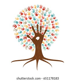 Human handprint multicolor tree with hands of colorful ethnic group. Global diverse community help or unity teamwork concept illustration. EPS10 vector.
